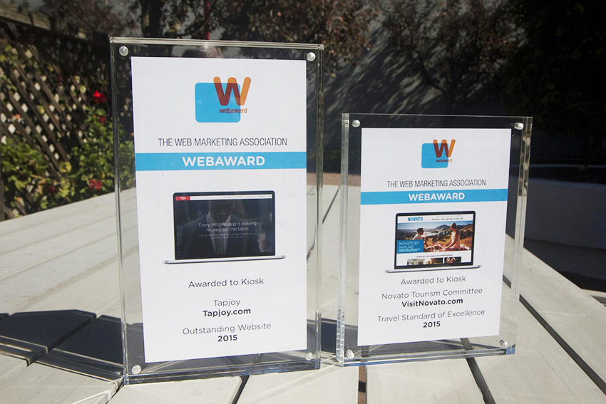 Kiosk wins web awards for Tapjoy and Visit Novato