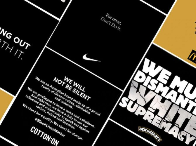 A collage of big brands' public statements in response to the Black Lives Matter movement